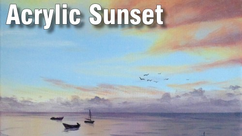 how to paint a sunset in acrylic