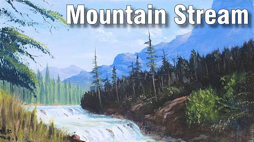 how to paint a mountain stream in acrylic