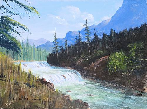 how to paint mountains river acrylic