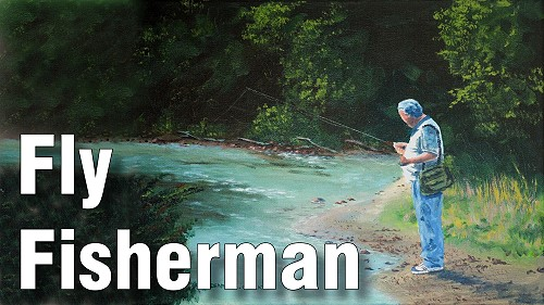 how to paint a fly fisherman and river in acrylic