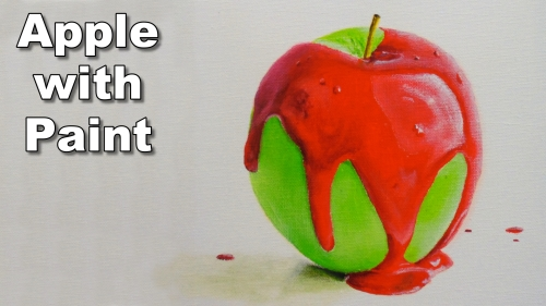 how to paint an apple with dripping paint