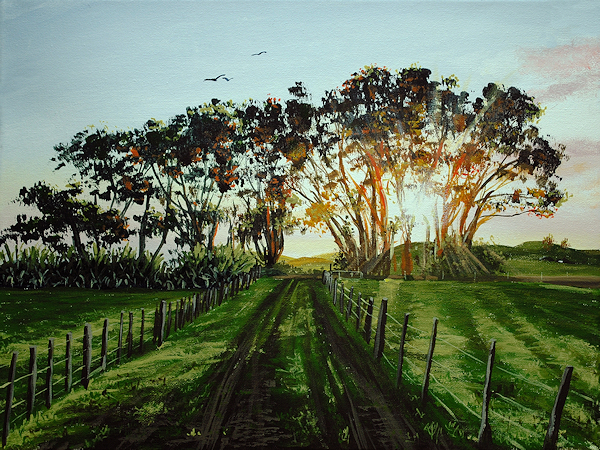 how to paint sunsets trees