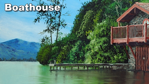 how to paint boathouse water trees
