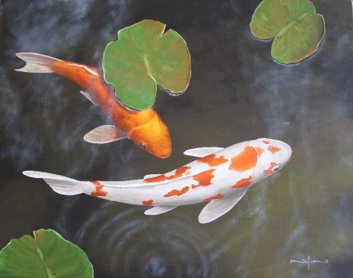 How to paint a koi pond in oil online art lessons for Koi carp fish pond