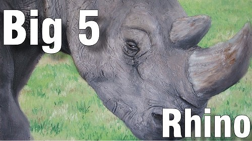 how to paint big five rhino oil