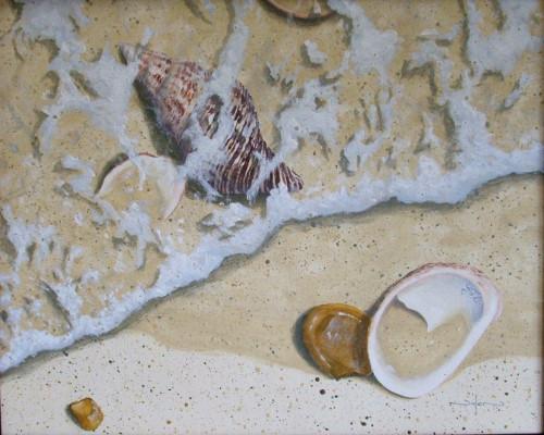 painting seashells on the beach