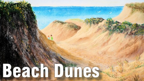 how to draw beach dunes pastel