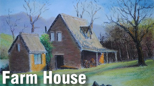 how to draw farm house pastel