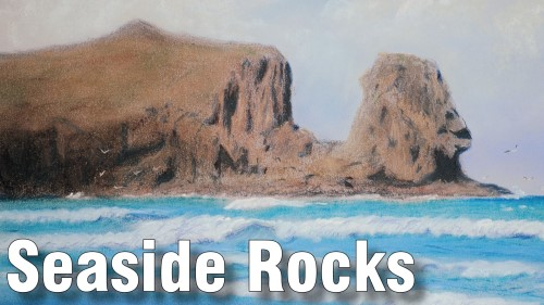 how to draw seaside rocks in pastels