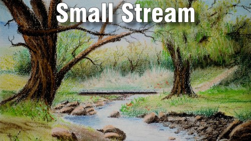 how to draw small stream pastel