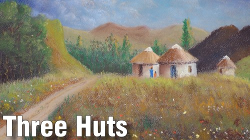 how to draw 3 huts pastel
