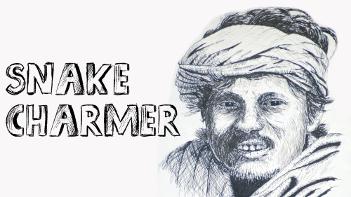 how to draw a snake charmer pen and ink