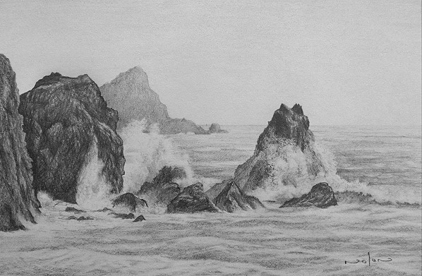how to draw a seascape in pencil