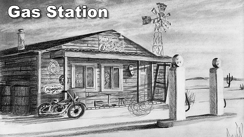 how to draw weathered textures gas station