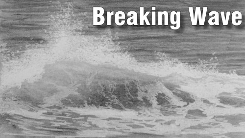 how to draw breaking wave pencil