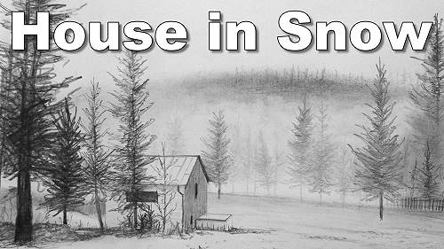 how to draw house snow pine trees