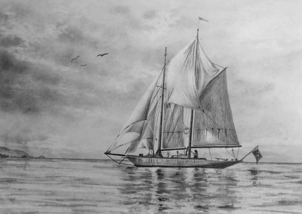 how to draw sailboat ship sea clouds