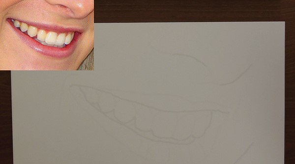 draw the outlines of the mouth