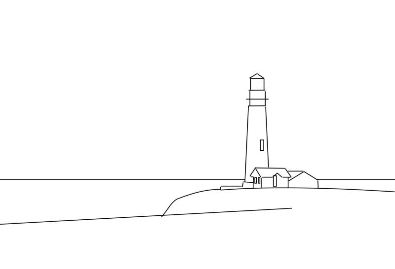 how to draw lighthouse outlines