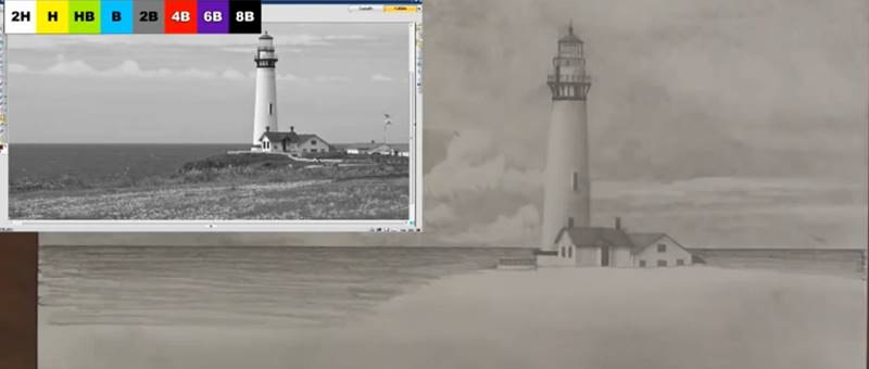 drawing the sea for the lighthouse drawing
