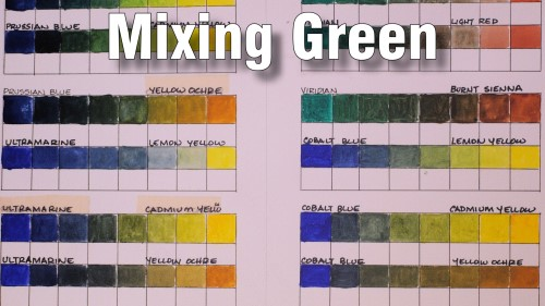 how to mix and paint green chart watercolour