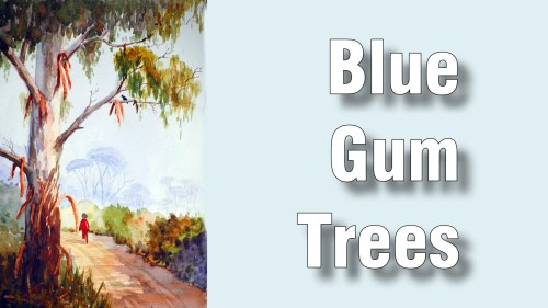 how to paint blue gum trees watercolour