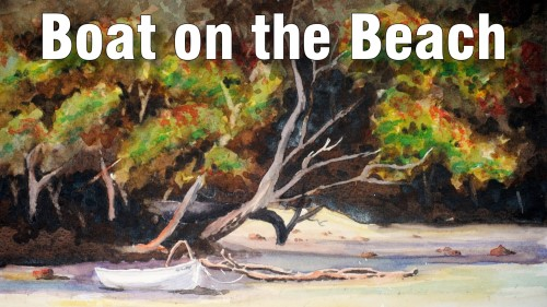 how to paint boat on beach watercolour