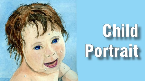 how to paint child portrait watercolour