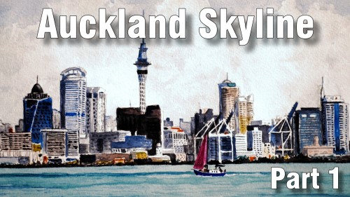how to paint auckland skyline part one watercolour