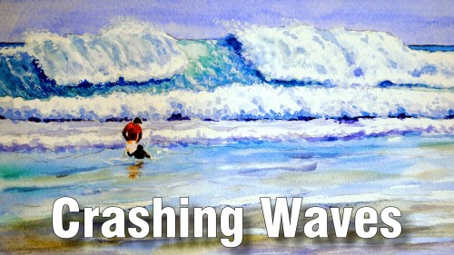 how to paint crashing waves watercolour