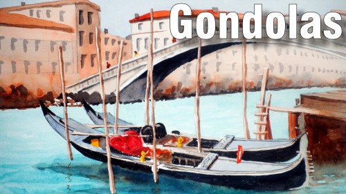 how to paint gondolas watercolour