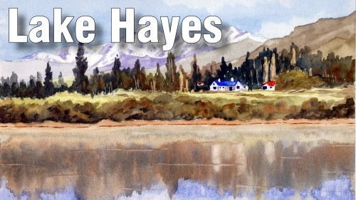 how to paint lake hayes watercolour