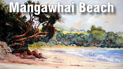 how to paint mangawhai beach watercolour
