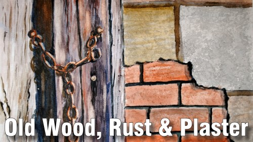how to paint old wood rust plaster watercolour