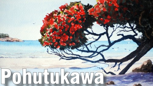 how to paint pohutakawa tree watercolour