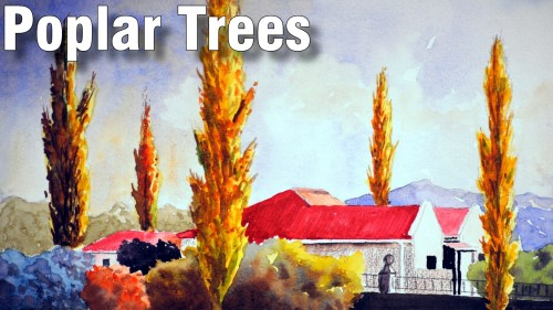 how to paint poplar trees watercolour