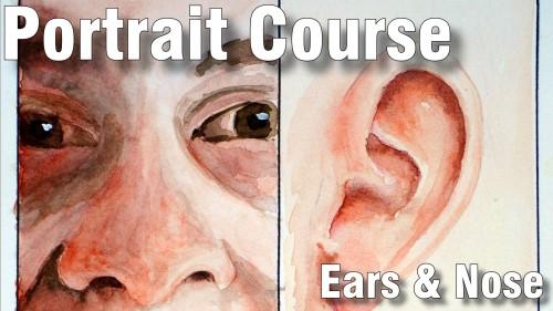 how to paint ears nose portrait course watercolour