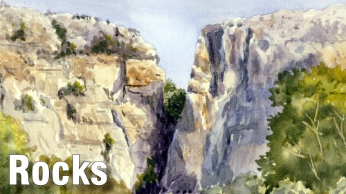 how to paint rocks watercolour