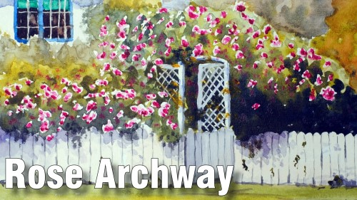 how to paint rose archway watercolour