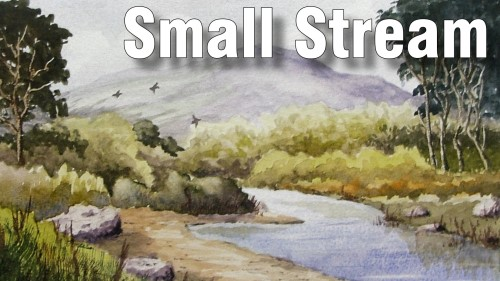 how to paint small stream watercolour