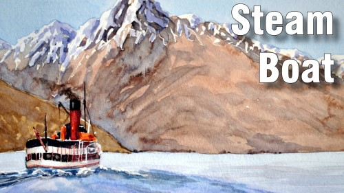 how to paint steam boat watercolour
