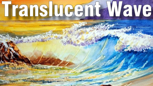 how to paint translucent wave watercolour