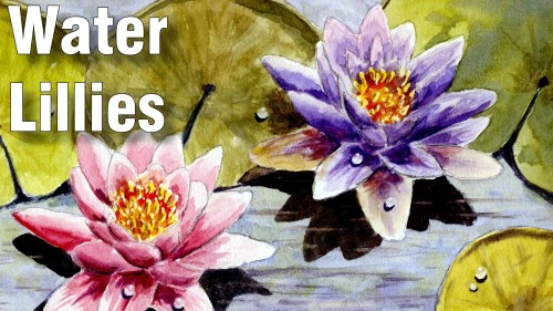 how to paint water lillies watercolour