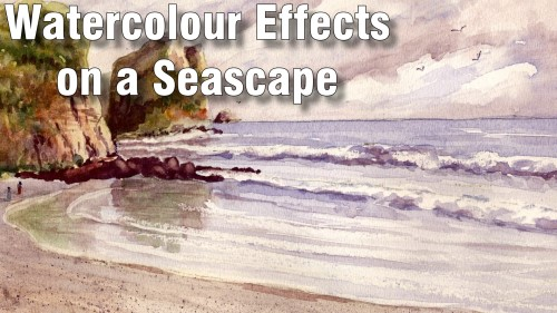 how to watercolour effects on a seascape watercolour