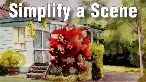 how to simplify a scene watercolour